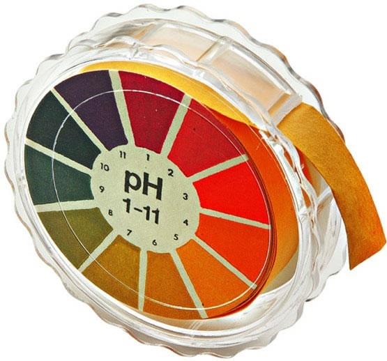 Papel indicador de pH:   El papel PH se encuentra impregnado de un indicador o una mezcla de indicadores y al ponerse en contacto con la solución a analizar adopta un determinado color dependiendo del pH de dicha solución. Con escala de colores incluida para la determinación del pH de la solución por comparación con el color obtenido en la tira. 80 tiras