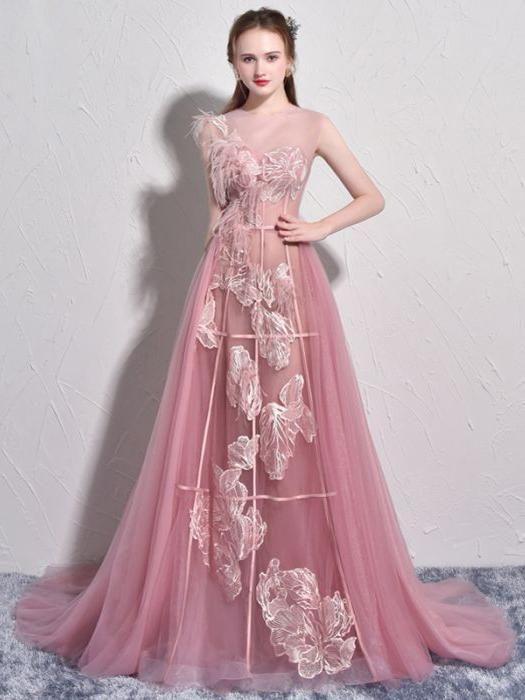 92b5d4f12f5 Chic A-line Bateau Pink Lace Tulle Modest Long Prom Dress Evening Dress  AM715