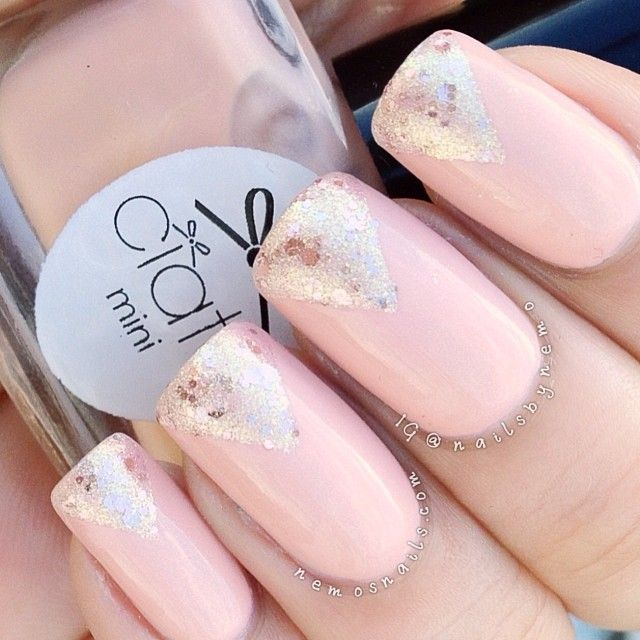 instagram @Atima Bhatnagar | Ciate nude with gold shimmer called 'Ivory Queen' with  simple glitter tips using A England 'She Walks in Beauty'