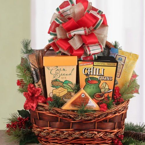 gourmet food gift baskets for christmas down home cooking chili cornbread holiday theme