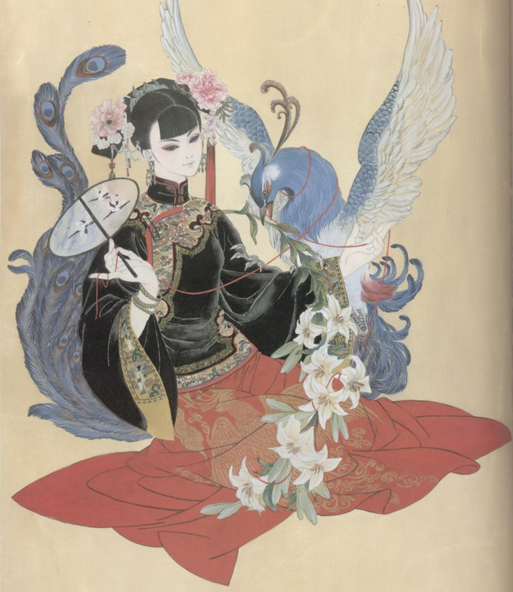 Art of noble lady  peacock by manga artist Natsuki Sumeragi.