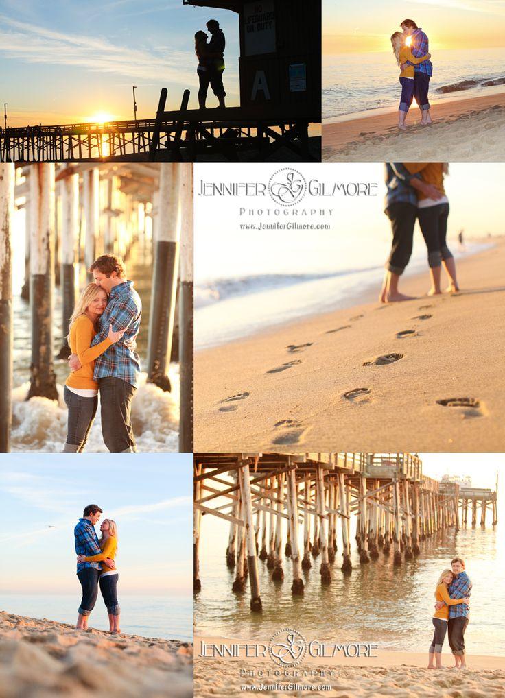 Balboa Beach sunset engagement - Newport Beach, Engagement Photography, Gilmore Studios, Kiss, Love, Engagement, Couple, Footprints, Sand, Footprints in the Sand, Beach, Sand, Sun Set, Pier, Silhouette, Beautiful Sky