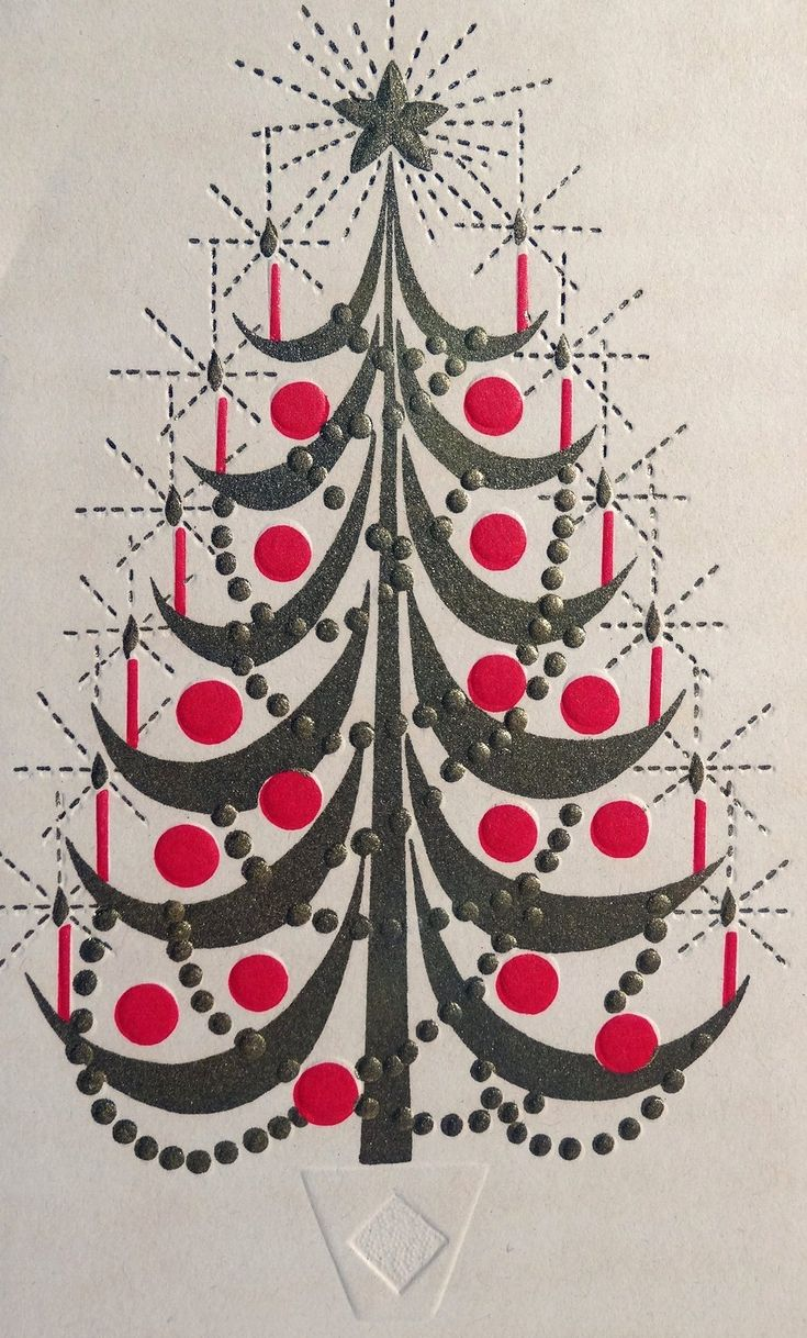 Modern metal christmas tree - Mid Century Christmas Card Symmetrical Stylized Sage Green Tree With Red Balls And Candles