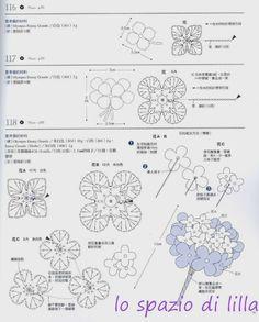 lo spazio di lilla: Bouquets di fiori all'uncinetto con schemi / bouquets of…