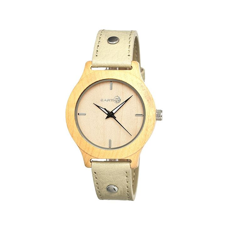 Earth Wood Goods Watches Earth Wood Tannins Light Wood Dial Yellow Leather Watch