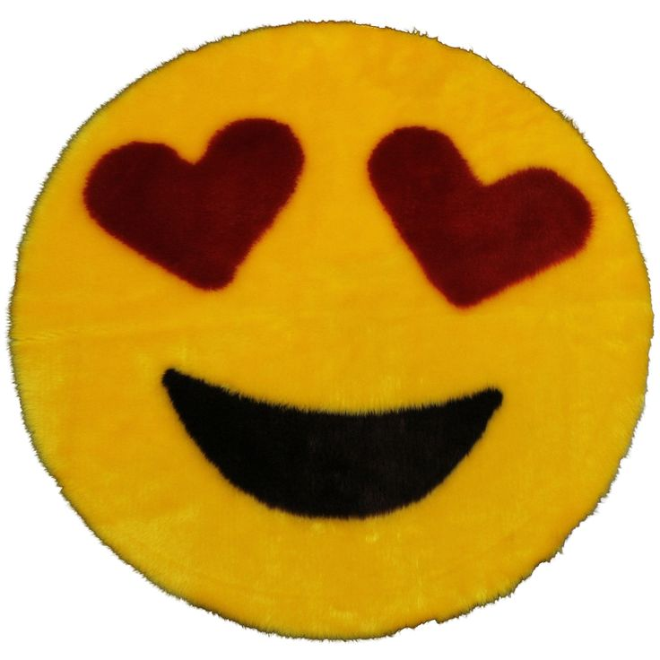 """Emoji Rug - Soft and Cute - Made in France - Perfect for Any Room - Dorm Bed Bathroom Kids Room Emojis (Heart Eyes) Non-Slip and Machine Washable Faux Fur 2' 2"""""""
