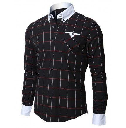 Mens Shirt Casual Plaid Dress Shirts (W005:DOUBLJU)