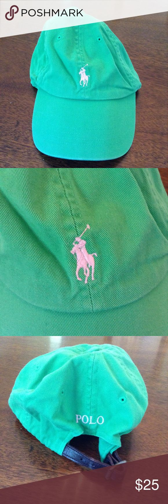 POLO RALPH LAUREN Green Baseball Cap EUC Green Polo baseball cap with pink Polo Player. EUC. Leather adjustable strap on back.  Bundle and I'll send a private discount AND free shipping on orders over $50!!  Smoke free home. Thanks for looking! :) Polo by Ralph Lauren Accessories Hats
