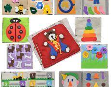 Carte senzoriala din fetru cu activitati pentru copii Quiet book Model 4