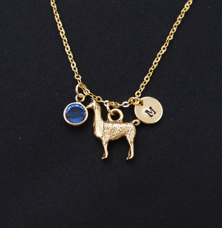 initial necklace, Llama necklace, birthstone necklace, long necklace option, llama gift, Lama Glama, alpaca necklace, animal lover gift by vespestudio on Etsy https://www.etsy.com/listing/237658972/initial-necklace-llama-necklace