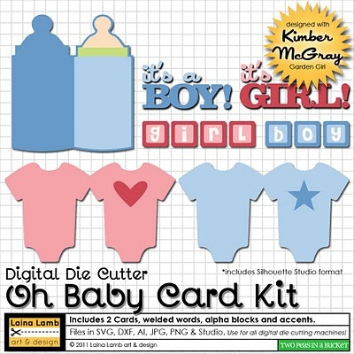 Baby card svg kit.