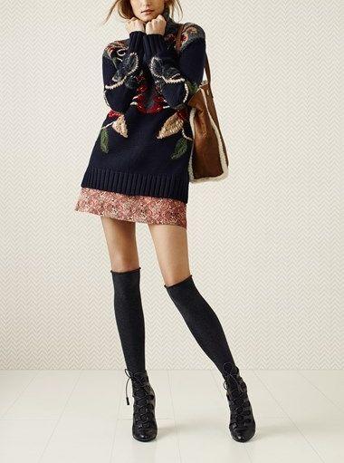 Hooked on fall fashion! Tory Burch turtleneck & A-line skirt.