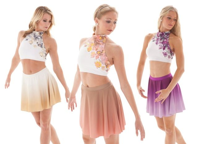 Floral Rose and Ombre Circle Skirt Dance Costume