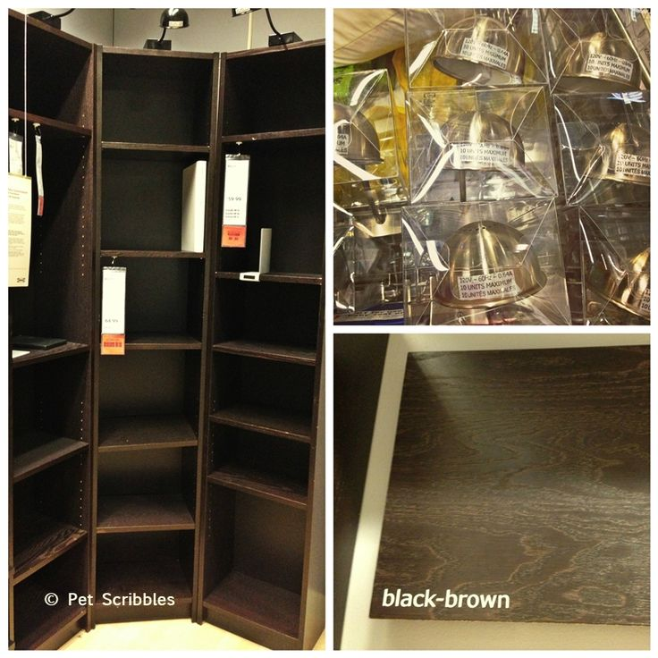 IKEA Billy Bookcases In Brown Black Color Plus Halogen Lamps