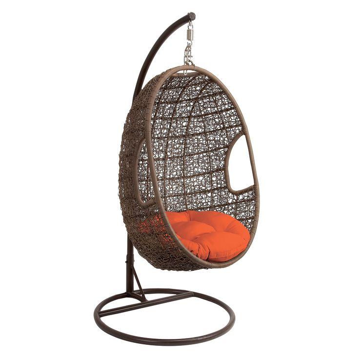 Studio 350 Brown Metal/ Rattan Hanging Chair Swing (see ...
