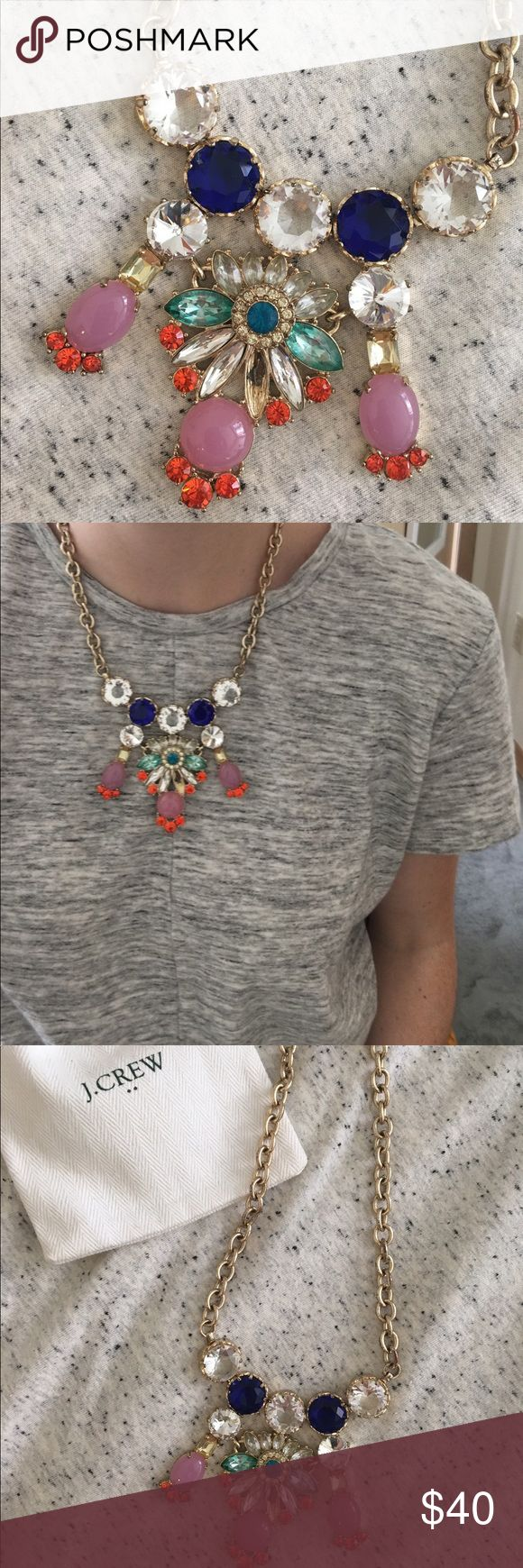 """J Crew Necklace STUNNING J Crew Crystal Necklace with clear, pink, teal and dark blue crystals. 18"""" chain with 3"""" adjustable. Gold chain. J. Crew Jewelry Necklaces"""
