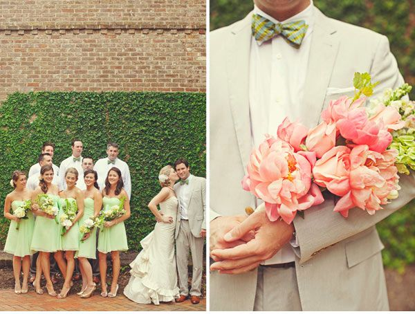green bridesmaid dresses? I like peach / coral and green