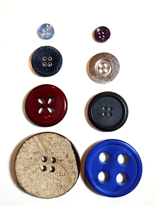 4 hole buttons from button post at www.duellingdesigns.com