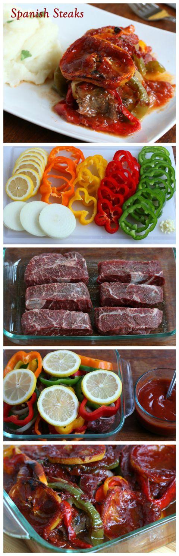 spanish steaks recipe bell CARNE ASADA CON VERDURAS EDPAÑOLA peppers lemon garlic sauce beef easy simple fast