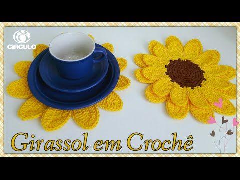 Girassol em Crochê . ( sousplat ou porta copo ) Por Vanessa Marcondes - YouTube