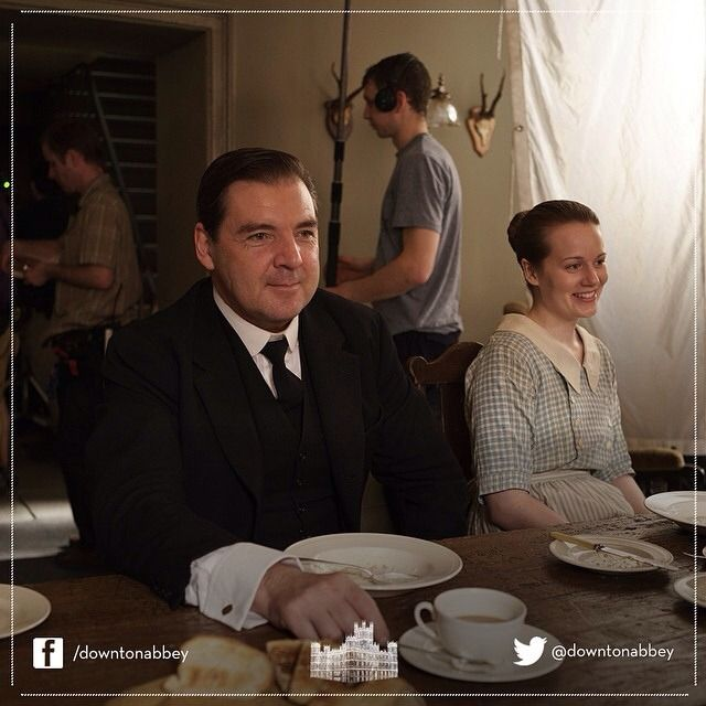 A lovely photo of a Brendan Coyle and Cara Theobold #behindthescenes at #Downton Abbey, #Series4. #DowntonAbbey From downtonabbey_official on Instagram