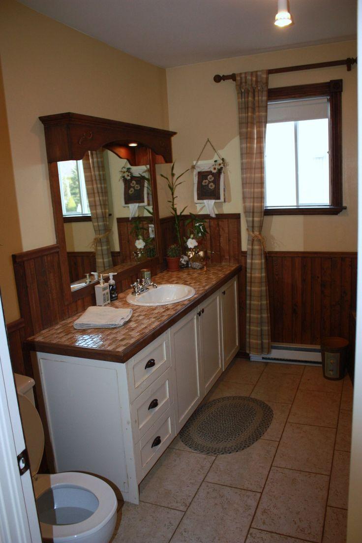 Salle de bain réaliser par une de nos designer! Style champêtre, bois, teinte de crème, décoration, Le jardin d'Andrée-Anne, www.lejardin.ca