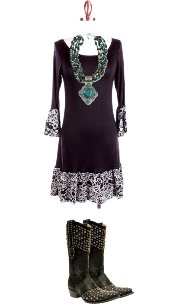 """black western dress"" by deanna-liles-sheffield ❤ liked on Polyvore"