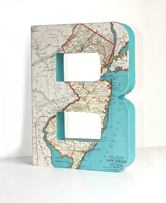 Reserved For Jen Large Vintage Map Letters- 12 Inches ELI