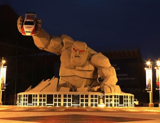 Dover, Delaware - Miles the Monster is the iconic statue of Dover International Speedway in Delaware. He is a replica of the trophy that NASCAR drivers receive when they win in Dover and one of the largest fiberglass statues in the world.