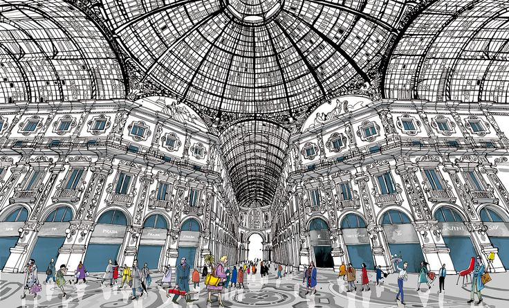 "The Galleria in Milan from"" I am Milan"" , illustration book by Carlo Stanga -Moleskine"