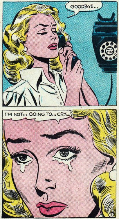 """Comic Girls Say.. """"goodbye..I'm not going to cry..!"""" #comic #vintage"""