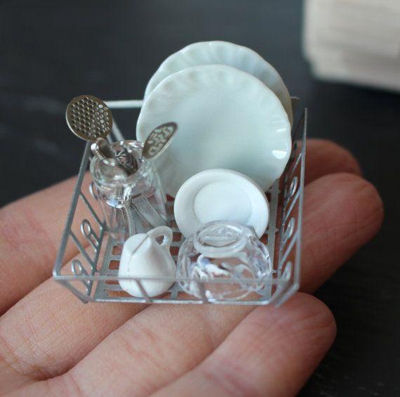 Casa de muñecas miniatura lleno cocina fregadero escurridor