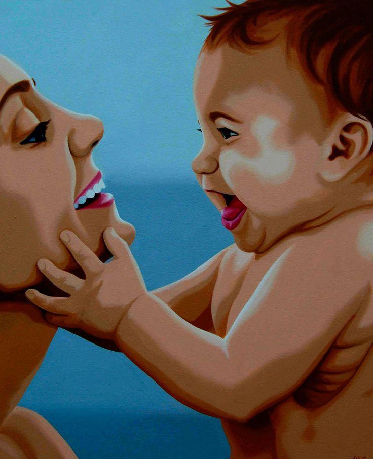 La forma en que la pintura de Anna Lloret detiene el tiempo para retratar a estas mamás y sus bebés parece de una realidad sorprendente.