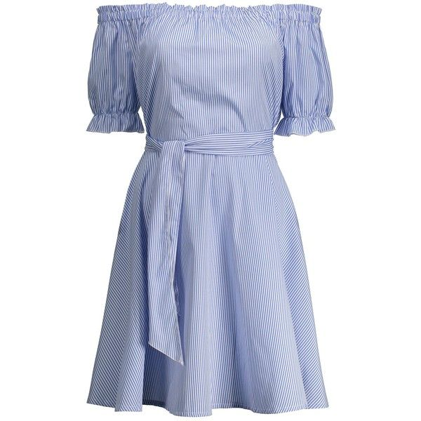 Off Shoulder Ruffle Striped Tie Waist Dress (55 RON) ❤ liked on Polyvore featuring dresses, rosegal, off-the-shoulder dress, tie dress, stripe dresses, flutter-sleeve dresses and blue off the shoulder dress