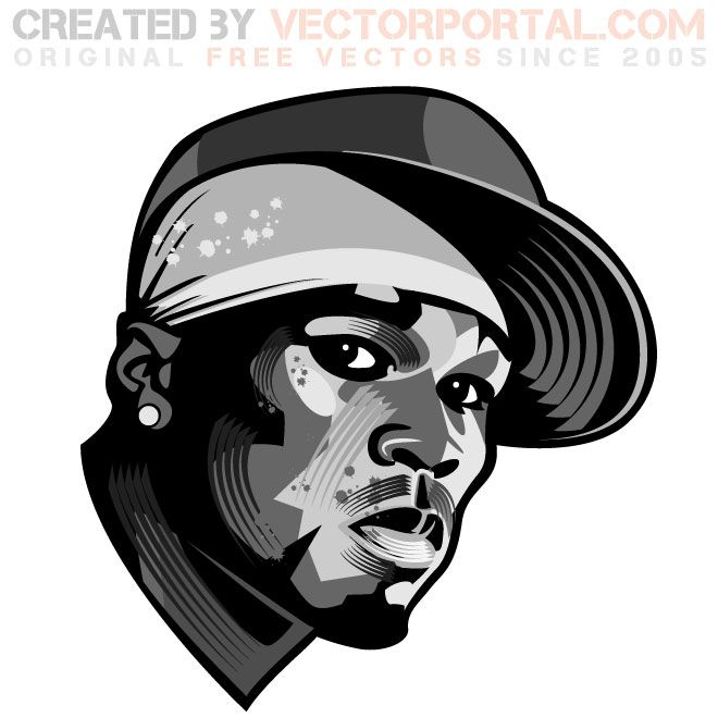 Rapper 50 Cent vector portrait.