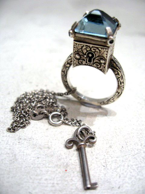William Griffiths Poison Ring Necklace with Key from Harlequin Market