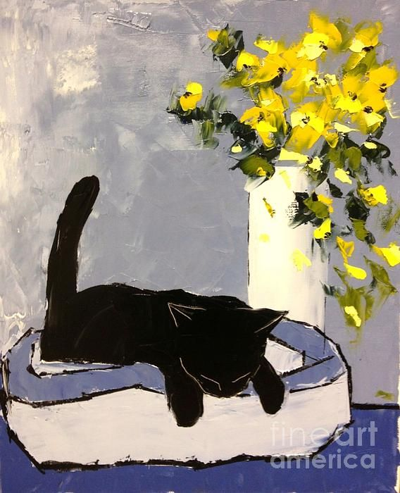 Black Cat Is Sleeping Painting by Atelier De Jiel - Black Cat Is Sleeping Fine Art Prints and Posters for Sale