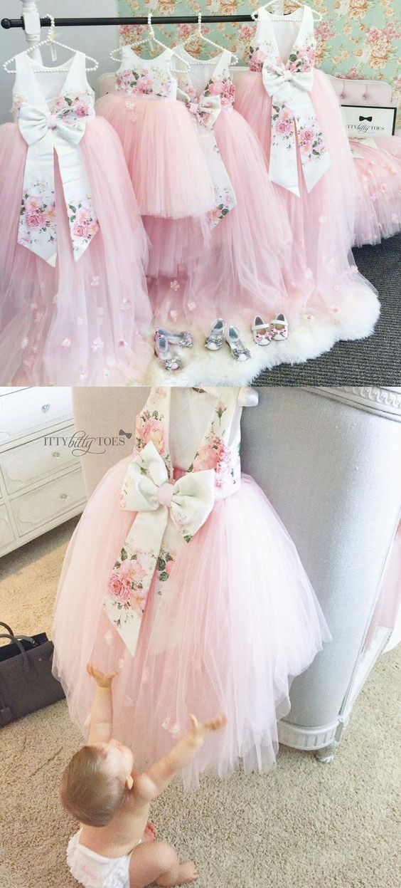 pink flower girl dresses, cute flower girl dresses, lovely flower girl dresses, v back pageant flower girl dresses, flower girl dresses with bowknot, 2k17 flower girl dresses, tulle dresses