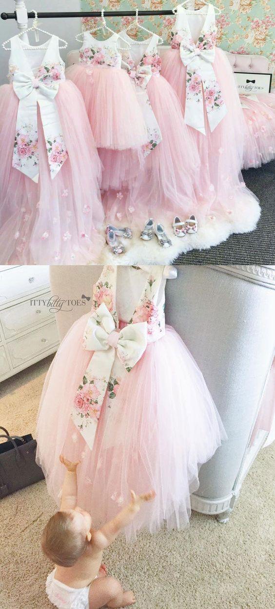 pink flower girl dresses, cute flower girl dresses, lovely flower girl dresses, v back pageant flower girl dresses, flower girl dresses with bowknot, 2k17 flower girl dresses, tulle dresses