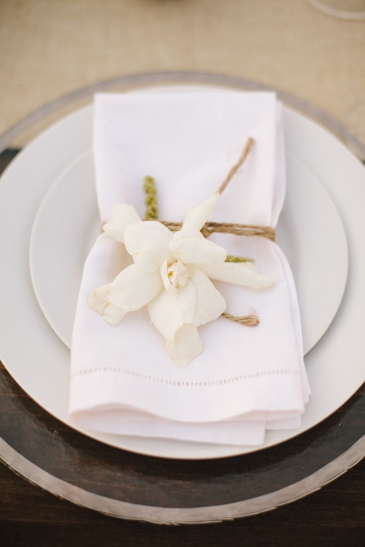 Gardenia, Moss and Twine Place Settings | Annie McElwain Photography | TheKnot.com