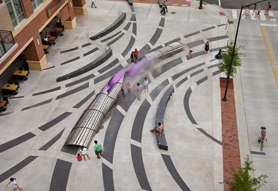 """Mikyoung Kim Design - Chapel Hill,NC """"exhale"""" The 70-foot sculpture wraps over itself and conceals remote-controlled mechanical systems. (photo Marc LaRosa)"""