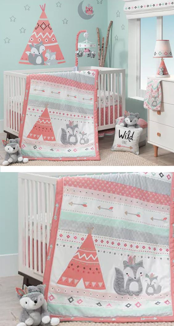 Your little one will spend lots of time snuggled up to this adorable Lambs & Ivy bedding set, featuring fox, teepee and arrow details.Southwestern motif, fox, teepee & arrow details with embroidery #affiliate #nursery #nurserydecor