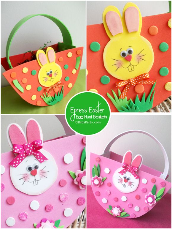 Hundreds of thousands of pins on some of her boards....Bird's Party Blog: NO-Sew, Express Baskets for your Easter Egg Hunt!