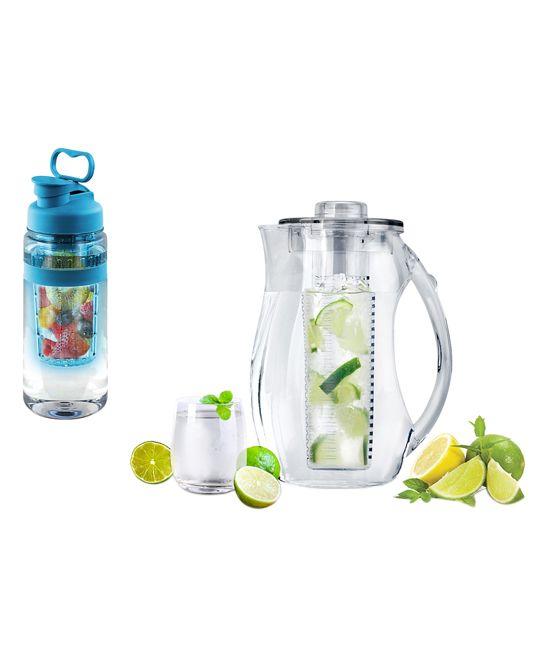 Blue Fruit-Infuser 32-Oz. Water Bottle & 2.5-L Pitcher