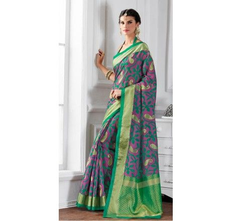 Purple and green self woven raw silk saree - Sarees - Sarees - Saree,Blouse & more
