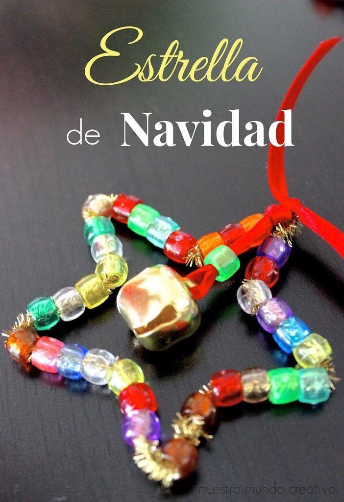 Estrella-de-navidad-actividad-manualidad-ninos ~cute little star ornament for the kiddos to make (tinsel pipecleaner , pony beads, jingle bell, & ribbon)