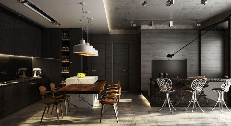 table de bar en marbre, tabourets hauts design, cuisine sans poignée et îlot central avec tabourets en bois