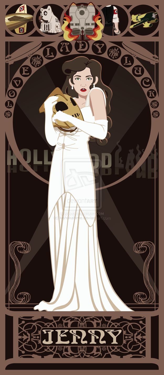 Jenny Blake - The Rocketeer | 10 Beautiful Art Nouveau Posters Of '80s And '90s Movie Heroines