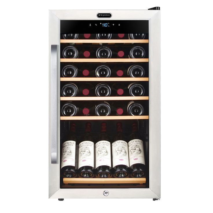 FWC-341TS Whynter 34 Bottle Freestanding Stainless Steel Wine Refrigerator with Display Shelf and Digital Control, Silver, Size Medium