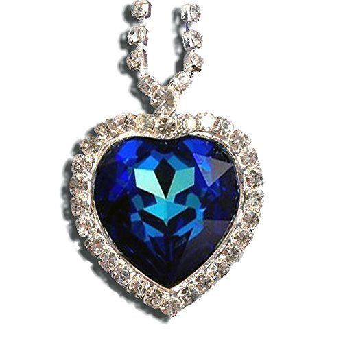 Titanic Heart of the Ocean Necklace Pendant Jewelry- Blue Swarovski Crystal:
